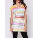 Color Block Striped Designed V Neck Short-sleeve-t-shirts