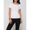 Hollow Out Plain Round Neck Short Sleeve T-shirts