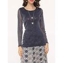 Mesh Patchwork Plain Seethrough Paillette Exquisite Round Neck Long-sleeve-t-shirts