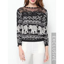 Lace Mesh Patchwork Printed Chic Long-sleeve-t-shirts