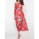 Floral Printed Long Sleeve Round Neck Maxi Dress
