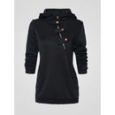 Fancy Hooded Decorative Buttons Plain Hoodies