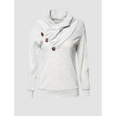 Decorative Buttons Delicate Cowl Neck Hoodies