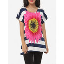 Printed Striped Loose Fitting Awesome Crew Neck Short-sleeve-t-shirts