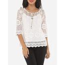 Lace Plain Captivating Round Neck Long Sleeve T-shirts