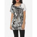 Printed Beading Loose Fitting Glamorous Round Neck Short-sleeve-t-shirts