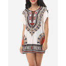 Tribal Printed Batwing Scoop Neck Short Sleeve T-shirts
