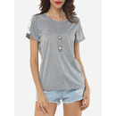 Hollow Out Lace Patchwork Designed Round Neck Short-sleeve-t-shirts