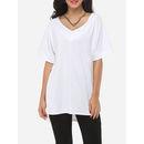 Plain Split Loose Fitting Exquisite V Neck Short-sleeve-t-shirts