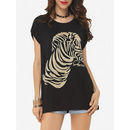 Zebra Printed Batwing Charming Round Neck Short-sleeve-t-shirts