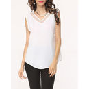 Mesh Patchwork Plain Seethrough Elegant V Neck Sleeveless-t-shirts