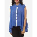 Color Block Asymmetrical Hems Extraordinary Band Collar Sleeveless-t-shirts