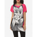 Printed Batwing Beading Loose Fitting Delightful Round Neck Short-sleeve-t-shirts