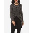 Plain Cross Straps Asymmetrical Hems Designed V Neck Long-sleeve-t-shirts