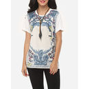 Printed Loose Fitting Exquisite Round Neck Short Sleeve T-shirts