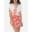 Bohemian Floral Printed Round Neck Short Sleeve T-shirts