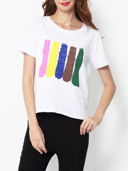 Printed Asymmetrical Hems Concise Round Neck Short Sleeve T-shirts