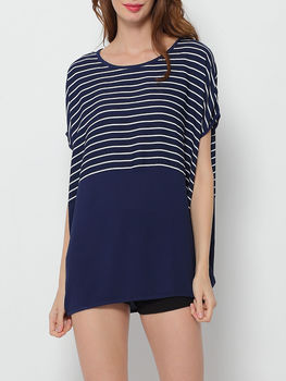 Bohemian Printed Striped Batwing Round Neck Short Sleeve T-shirts
