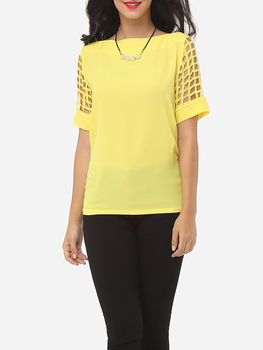 Hollow Out Plain Courtly One Shoulder Short-sleeve-t-shirts