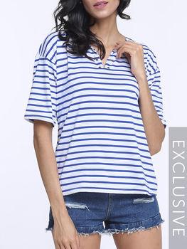 Striped V Neck Short Sleeve T-shirts