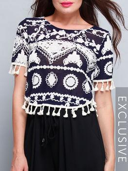 Bohemian Floral Printed Printed Tassel Round Neck Short Sleeve T-shirts