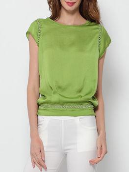 Patchwork Plain Round Neck Short Sleeve T-shirts