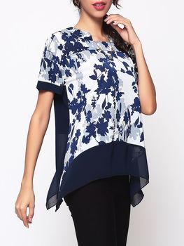 Printed Asymmetrical Hems Women's Band Collar Short Sleeve T-shirts