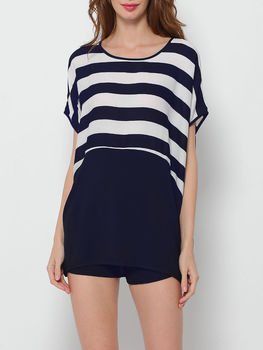 Striped Batwing Loose Fitting Round Neck Short Sleeve T-shirts
