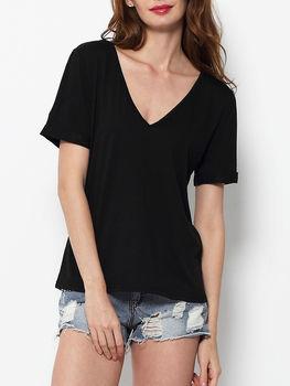 Plain Concise V Neck Short Sleeve T-shirts