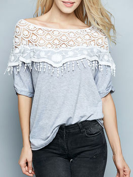 Lace Patchwork Boat Neck Short Sleeve T-shirts