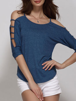 Hollow Out Plain Batwing Scoop Neck Long Sleeve T-shirts