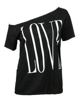 Letter Printed Hot Slash Neck Short Sleeve T-shirts