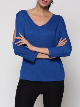 Hollow Out Plain V Neck Short Sleeve T-shirts