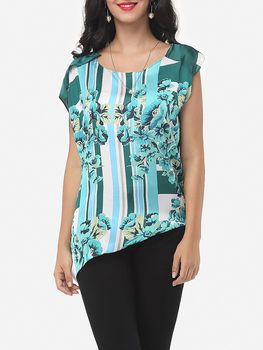 Floral Printed Printed Loose Fitting Asymmetrical Hems Crew Neck Short Sleeve T-shirts