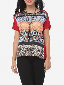 Bohemian Printed Loose Fitting Crew Neck Short Sleeve T-shirts
