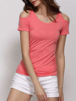 Shoulder Hollow Out Round Neck Short Sleeve T-shirts