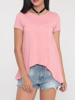 Plain Concise Back Down Round Neck Short Sleeve T-shirts