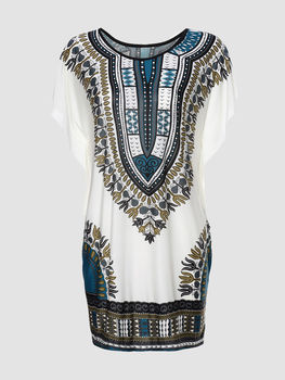 Tribal Printed Loose Round Neck Short Sleeve T-shirts