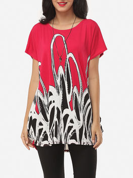 Printed Loose Fitting Exquisite Round Neck Short-sleeve-t-shirts