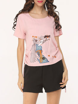 Modern Embroidery Short Sleeve T-shirts