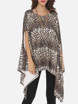 Leopard Printed Asymmetrical Hems Stylish Round Neck Short Sleeve T-shirts