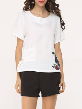 Basic Casual Printed Short Sleeve T-shirts