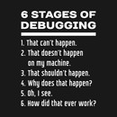 6 Stages of Debugging: White Text Design for Software Developers T-Shirt