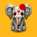 Red Day of the Dead Sugar Skull Baby Elephant T-Shirt