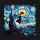 Girl with an Umbrella starry night T-Shirt