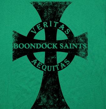 The Boondock Saints T Shirt Veritas Aequitas Irish Cross T Shirt