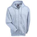 Bayside Sweatshirts: Men's BA900 ASH USA-Made Heavyweight Dark Ash Grey Full-Zip Hooded Sweatshirt