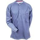 Bulwark Shirts: Men's Blue QT20 BL Flame-Resistant Long Sleeve Henley Shirt