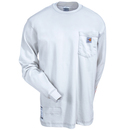 Carhartt Shirts: 101153 051 Men's Light Grey Flame-Resistant Long-Sleeve Cotton Tee Shirt