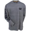 CAT Apparel Shirts: Men's 1510034 004 Heather Grey Trademark Banner Long-Sleeve Tee Shirt